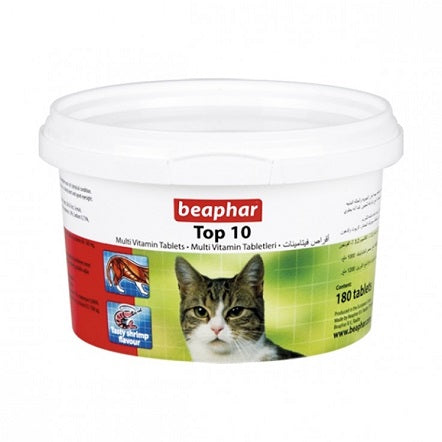 Beaphar Top 10 Cat Vitamin 180 Tablets - The Happy Dolphin Pets