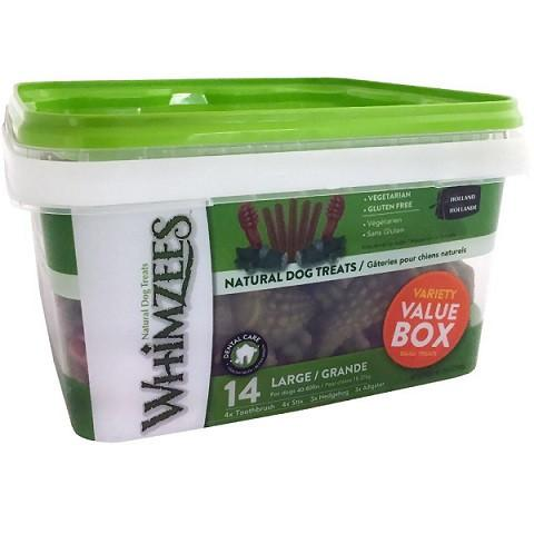 Whimzees Variety Value Box - Large (14 pieces) - The Happy Dolphin Pets