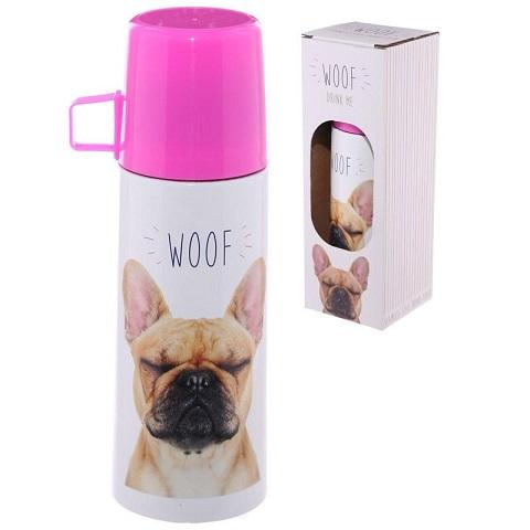 Bulldog Woof Stainless Steel Flask - The Happy Dolphin Pets