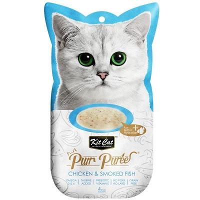 Kit Cat Purr Puree Chicken & Smoked Fish - 4 sachets in bag - The Happy Dolphin Pets