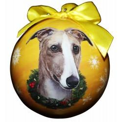 Greyhound Fawn & White Xmas Ornament Shatter Proof Ball - The Happy Dolphin Pets