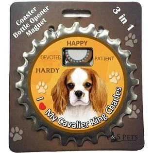 Cavalier King Charles 3 in 1 Coaster, Bottle Opener & Magnet - Free with dog orders over AED250 - The Happy Dolphin Pets