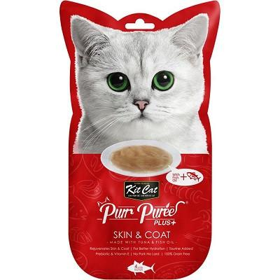 Kit Cat Purr Puree PLUS Skin & Coat Tuna Cat Treats - 4 sachets in bag - The Happy Dolphin Pets