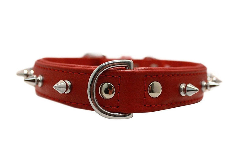 15% Less - Genuine Leather Rotterdam Red Single Line Spiked Collar - The Happy Dolphin Pets