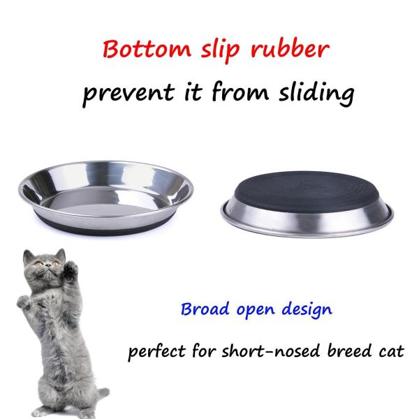 SuperDesign Ergonomic Shallow Stainless Steel Cat Dish - The Happy Dolphin Pets