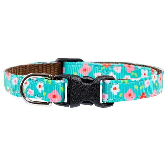 """The Kabloom"" - Floral Print Collar for cats and small dogs - The Happy Dolphin Pets"