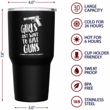 Girls Just Wana Have Guns + American Flag Stainless Steel Tumbler