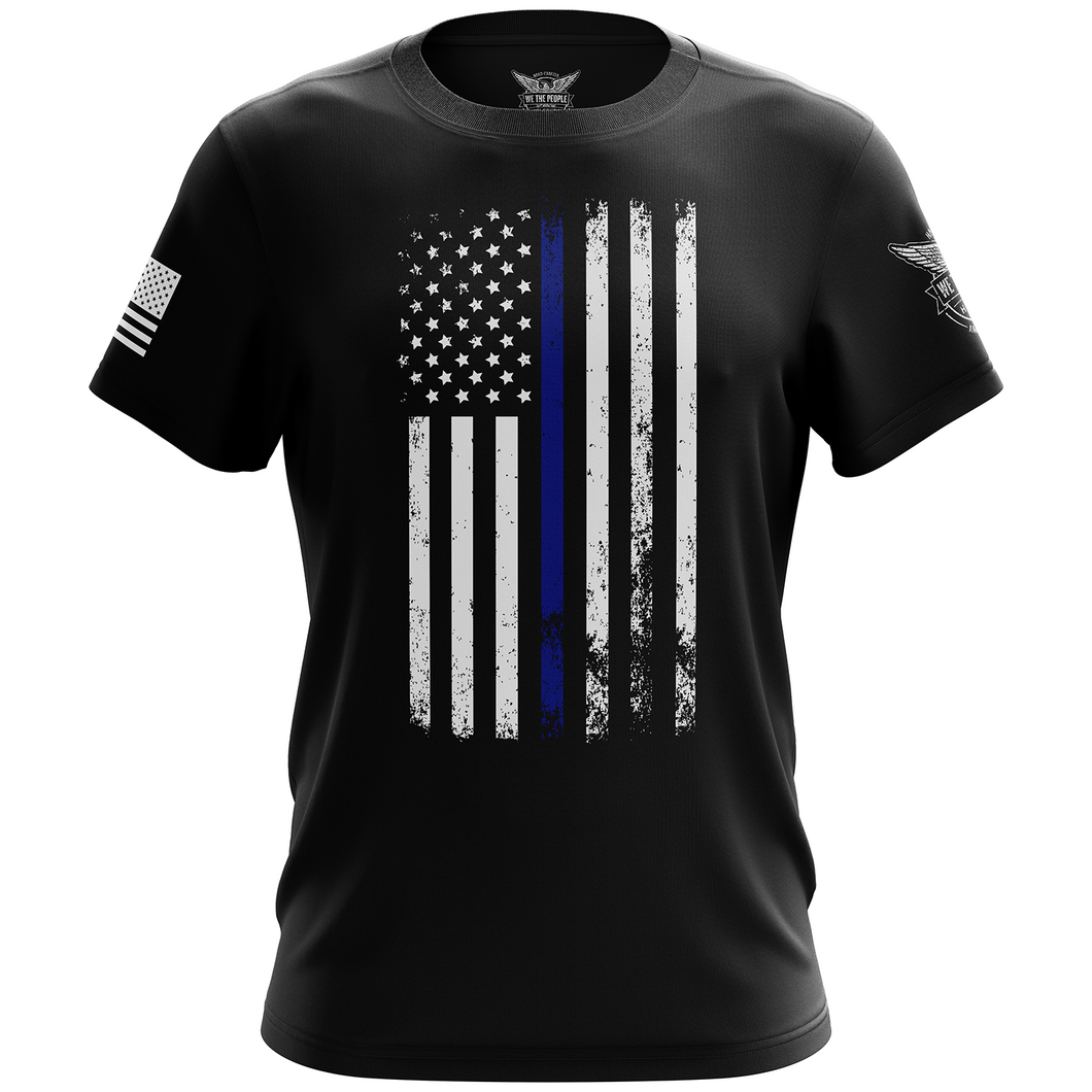 American Flag Thin Blue Line Police Support Short Sleeve Unisex T-Shirt