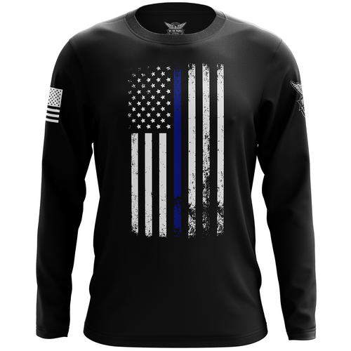 American Flag Thin Blue Line Long Sleeve Shirt