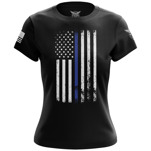 American Flag Thin Blue Line Women's Short Sleeve Shirt
