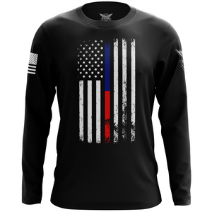American Flag Thin Blue/Red Line Public Service Support Long Sleeve Shirt