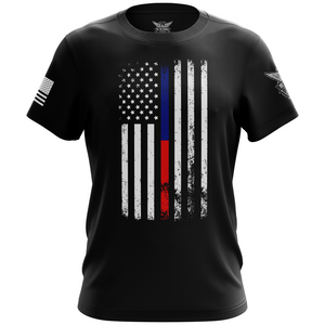 American Flag Thin Blue/Red Line Public Service Support Short Sleeve Unisex T-Shirt