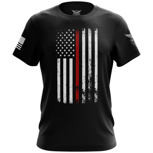 American Flag Thin Red Line Firefighter Service Support Short Sleeve Unisex T-Shirt