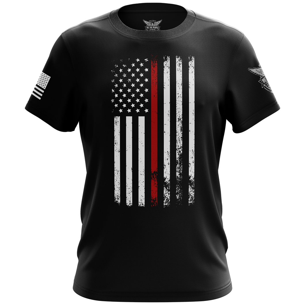American Flag Thin Red Line Firefighter Service Support Short Sleeve Shirt