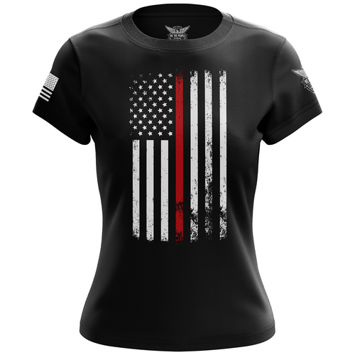 American Flag Thin Red Line Firefighter Service Support Women's Short Sleeve Shirt