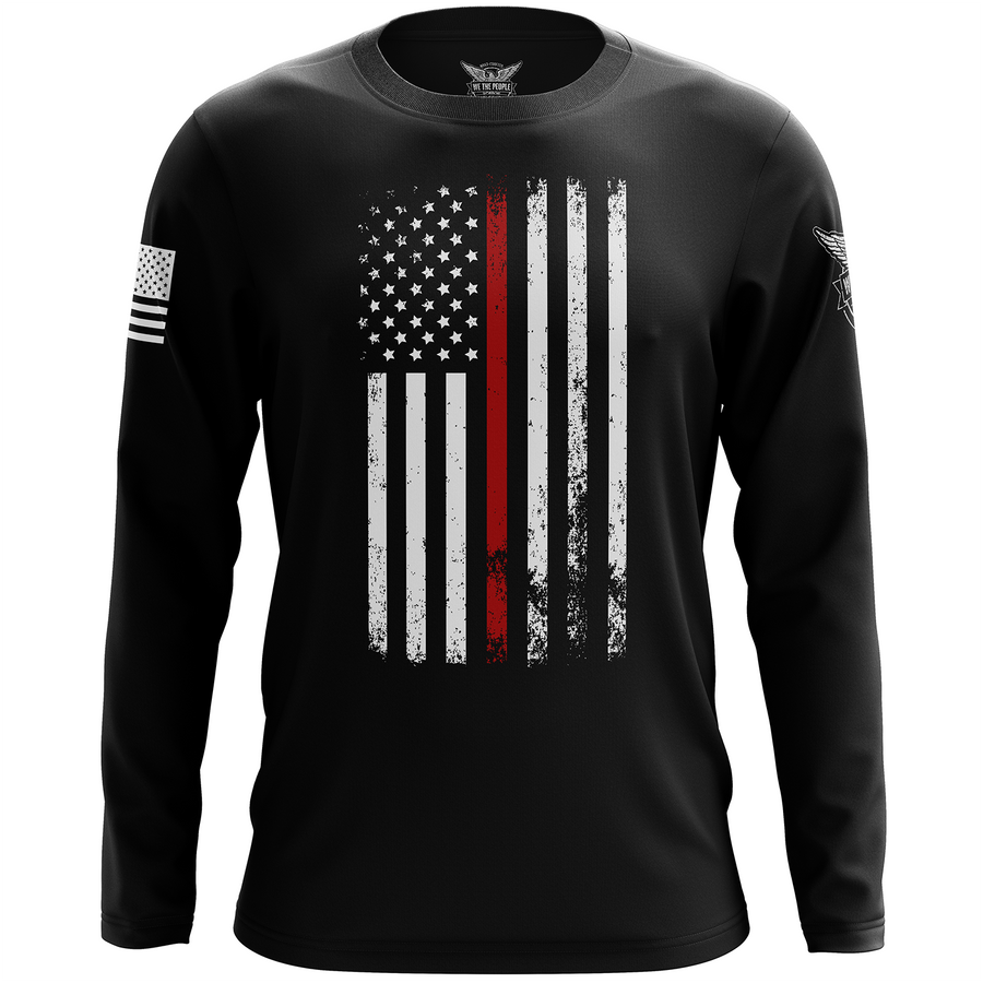American Flag Thin Red Line Firefighter Service Support Long Sleeve Shirt
