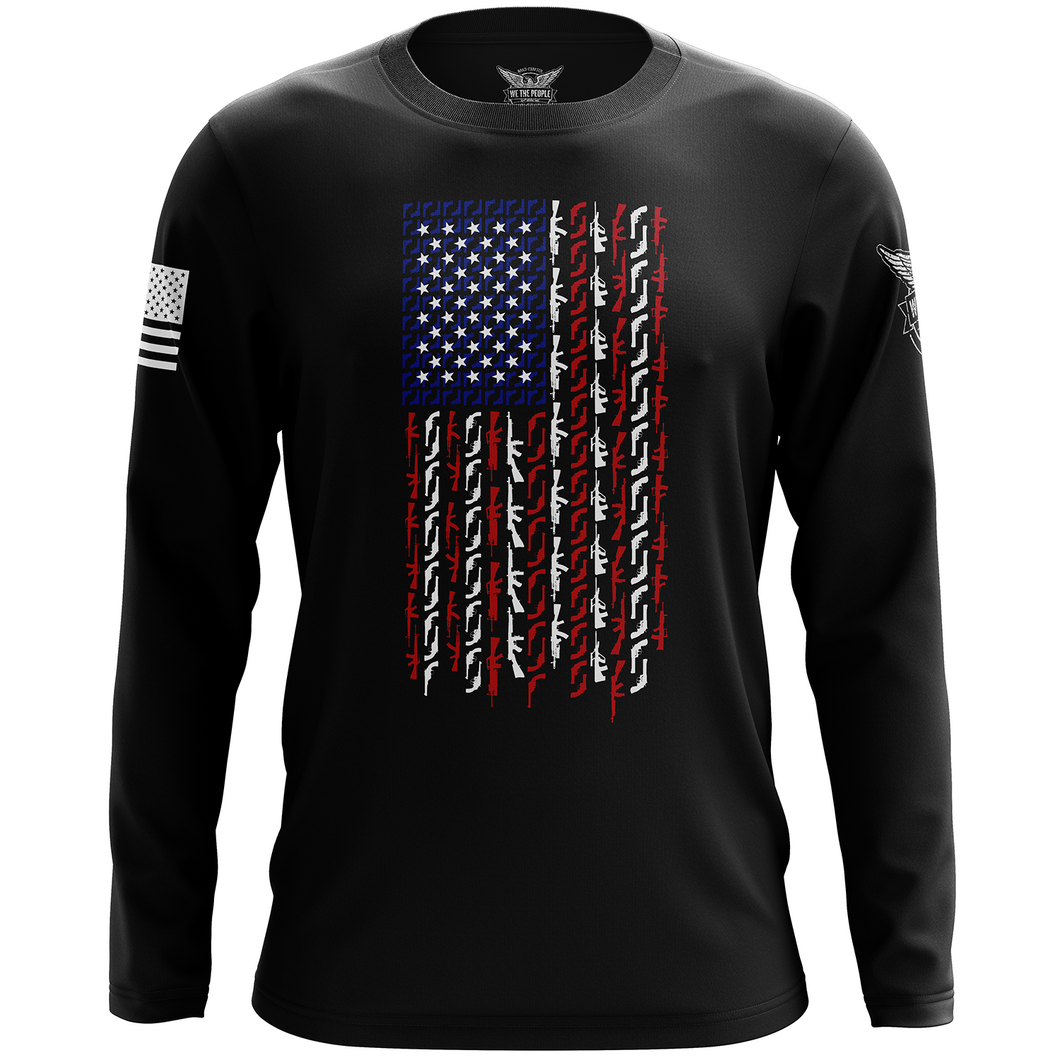 American Flag in Guns - Patriotic Colors Long Sleeve Shirt