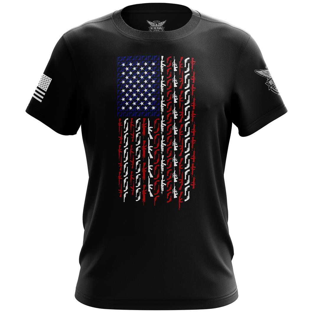 American Flag in Guns - Patriotic Colors Short Sleeve Shirt