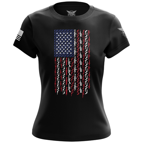 American Flag in Guns - Patriotic Colors Women's Short Sleeve Shirt