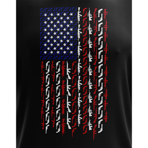 American Flag in Guns - Patriotic Colors Short Sleeve Unisex T-Shirt