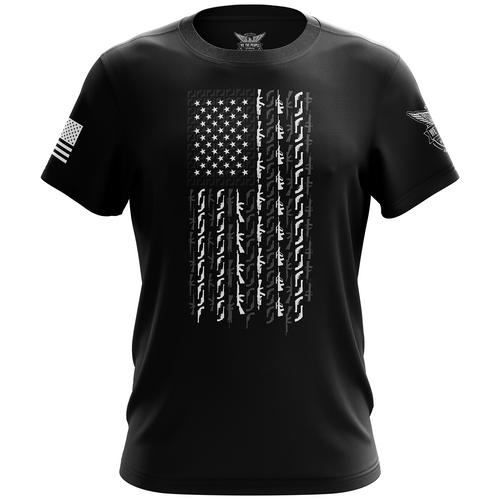 American Flag in Guns Short Sleeve Shirt