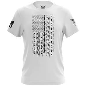 American Flag in Guns Short Sleeve Unisex T-Shirt