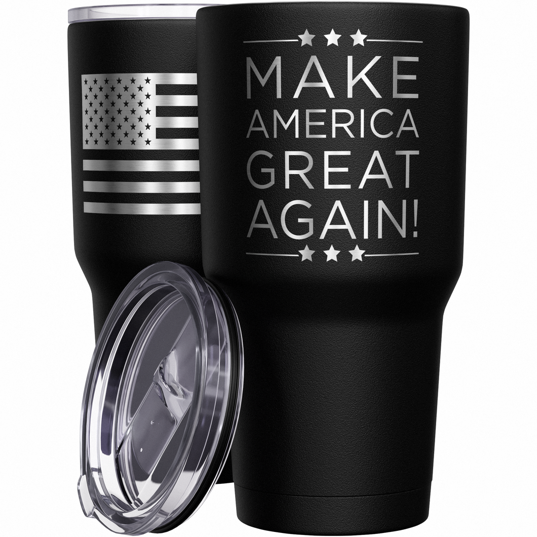 Make America Great Again MAGA  + American Flag Stainless Steel Tumbler