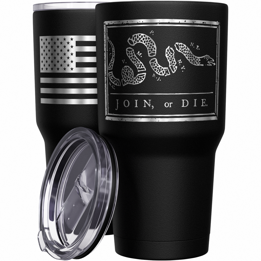Join or Die + American Flag  Stainless Steel Tumbler