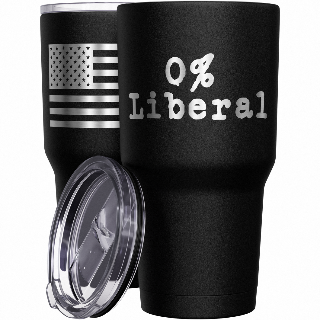 0% Liberal + American Flag Stainless Steel Tumbler