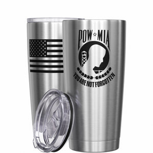 POW MIA You are not forgotten + American Flag Stainless Steel Tumbler