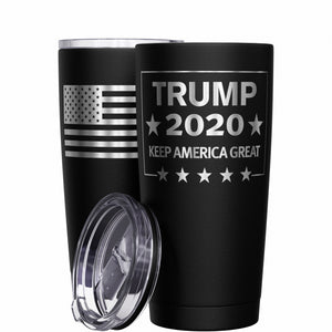 Trump 2020 Keep America Great + American Flag Stainless Steel Tumbler