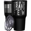 Home of the Brave + American Flag Stainless Steel Tumbler