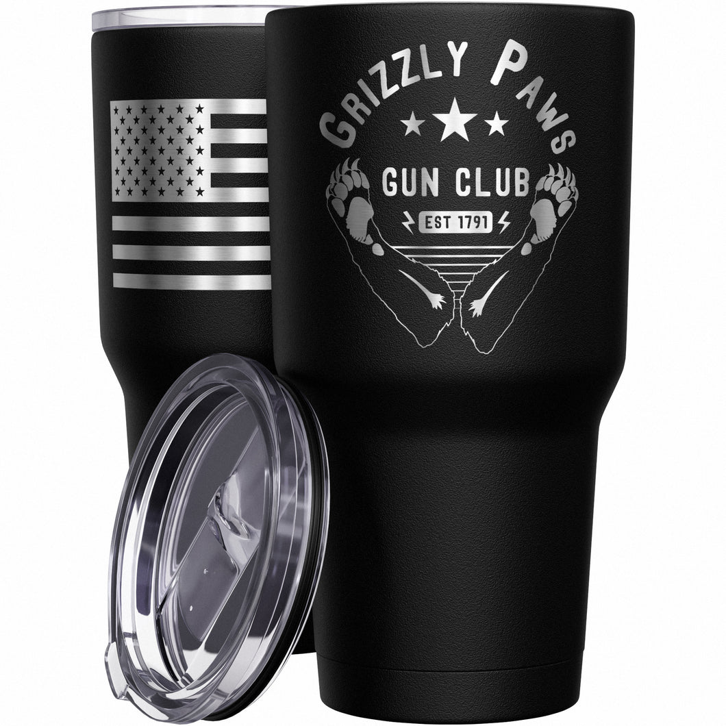 Grizzly Paws Gun Club + American Flag Stainless Steel Tumbler