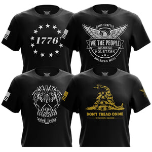 1776 Betsy Ross Flag, We The People, Gun Skull & Don't Tread On Me Short Sleeve T-Shirt Bundle