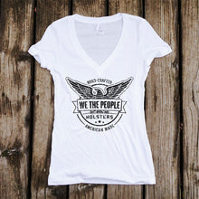 We The People Distressed Logo Deep V-Neck Shirt