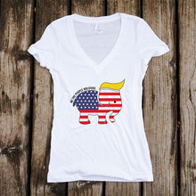 Trumpican Logo Women's V-Neck White and Black T-Shirt