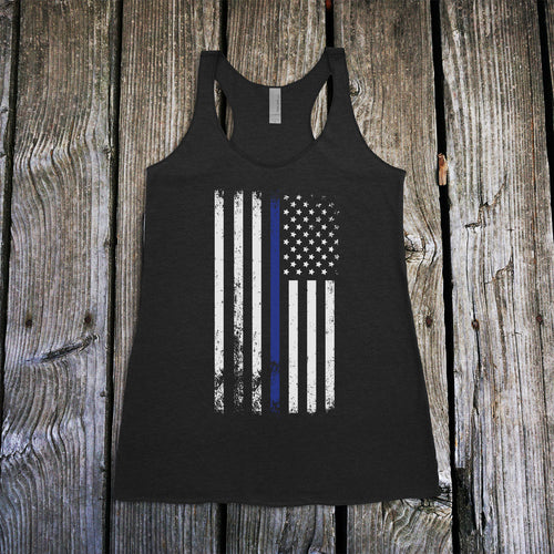 American Flag Thin Blue Line Police Support Women's Racerback Tank Top