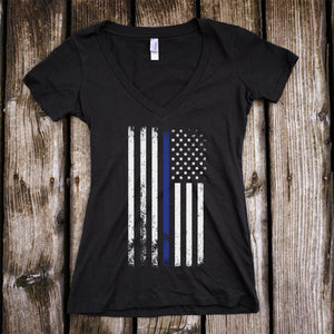 American Flag Thin Blue Line Police Support Deep V-Neck T-Shirt
