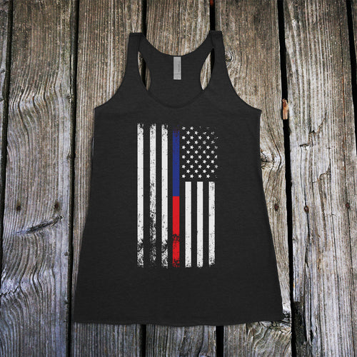 American Flag Thin Blue/Red Line Public Service Support Women's Racerback Tank Top