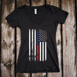 American Flag Thin Blue Line/Thin Red Line Support Deep V-Neck T-Shirt