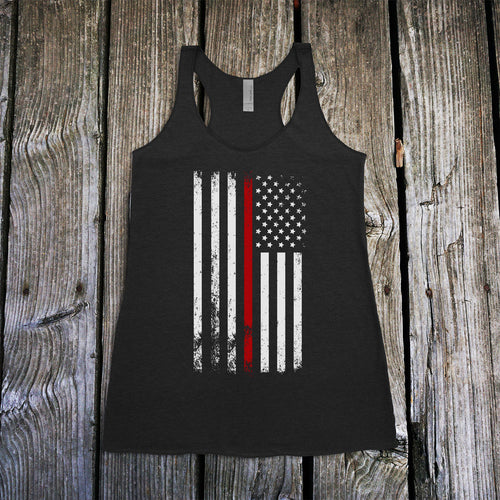 American Flag Thin Red Line Firefighter Support Women's Racerback Tank Top