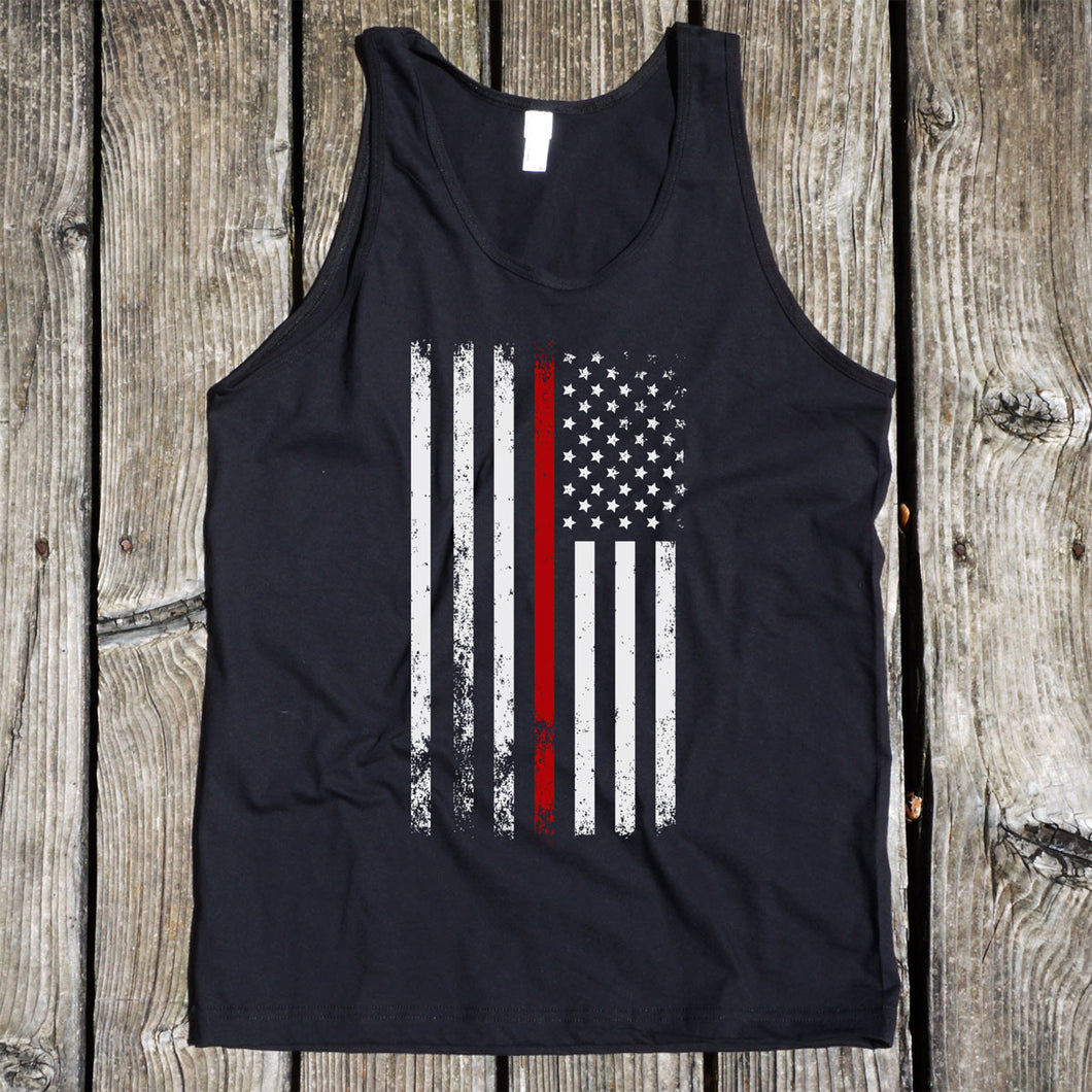 American Flag Thin Red Line Firefighter Support Men's Black Tank
