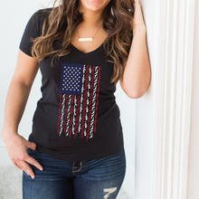 American Flag with Guns Red White and Blue Support Deep V-Neck Shirt