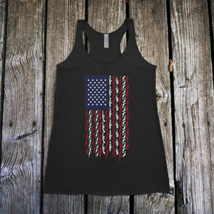 American Flag in Guns Patriotic Colors Women's Racerback Tank Top