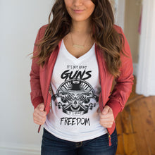 It's Not about Guns It's About Freedom Deep V-Neck T-Shirt