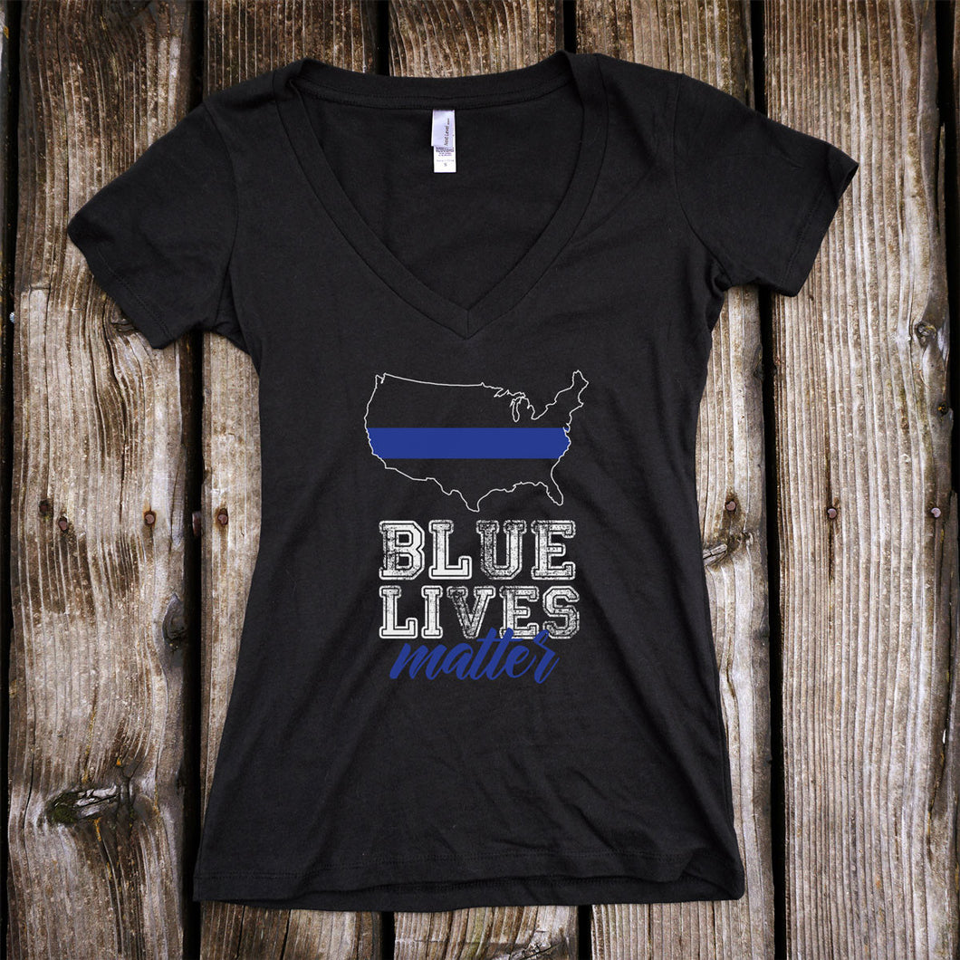 Blue Lives Matter Deep V-Neck Black T-Shirt