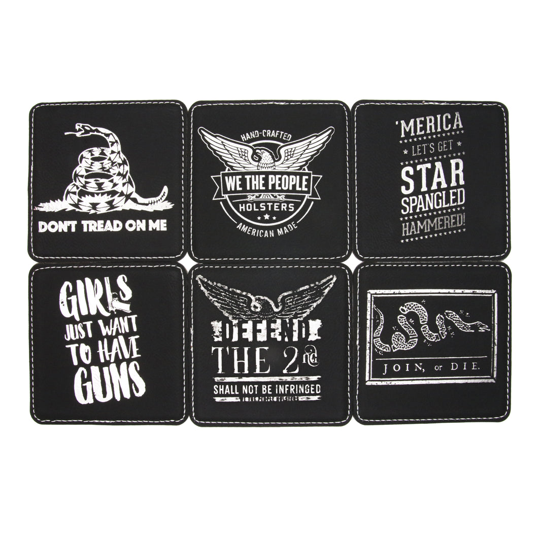 2nd Amendment Coasters by We The People - Defend The 2nd 6 Coaster Set - 4 x 4 Inch Patriotic Coasters - Set Includes 'Join Or Die' and 'Don't Tread On Me' Coasters