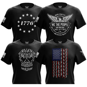 1776 Betsy Ross Flag, We The People, Gun Skull & American Flag in Guns Short Sleeve T-Shirt Bundle