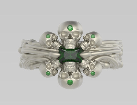 Sea Skull Ring with 6x4mm Emerald