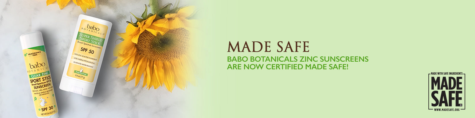 Made Safe Babo Botanicals zinc sunscreens are now certified made safe!